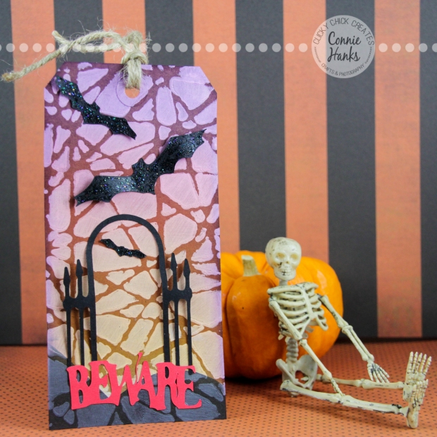 Connie Hanks Photography // ClickyChickCreates.com // Halloween Tags, ghostess hostess gift, bats, gate, beware, spooky, shattered, Tim Holtz Distress Ink, Ranger Ink, Slice, gesso