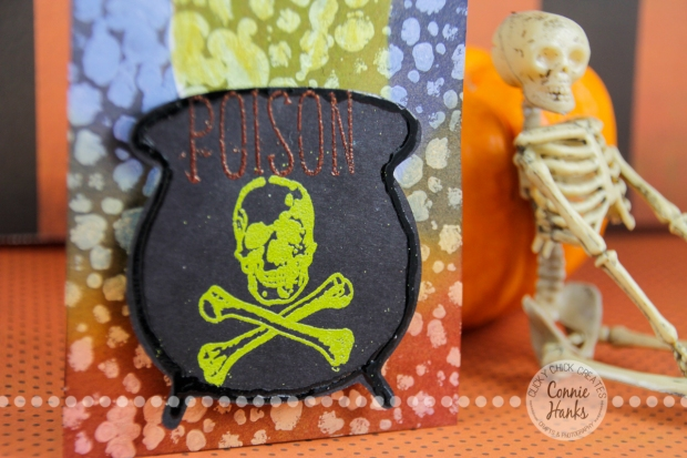 Connie Hanks Photography // ClickyChickCreates.com // Halloween Tags, ghostess hostess gift, cauldron, brew, spider, crescent moon, poison, spooky, bubbles, Dylusions, Tim Holtz Distress Ink, Ranger Ink, Slice, gesso
