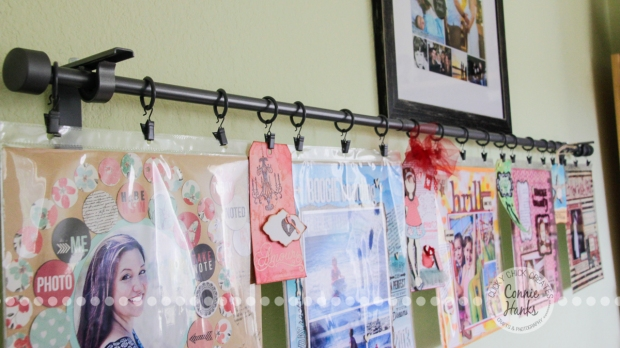 Connie Hanks Photography // ClickyChickCreates.com // easy wall display for scrapbook layouts, tags, cards and more!