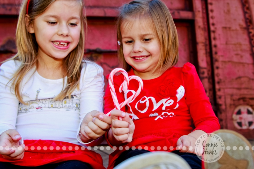 Connie Hanks Photography // ClickyChickCreates.com // Candy Cane Love scrapbooking layout, little girls with candy canes, Christmas family photography, Old Poway Park