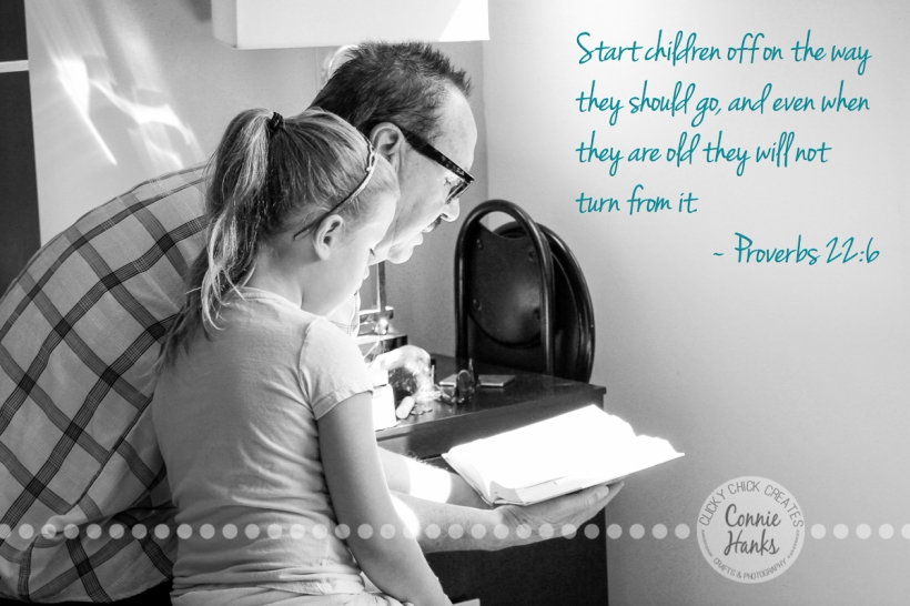 Connie Hanks Photography // ClickyChickCreates.com // B&W, grandfather, granddaughter, bible, reading, spiritual, faith, quote, Proverbs 22:6