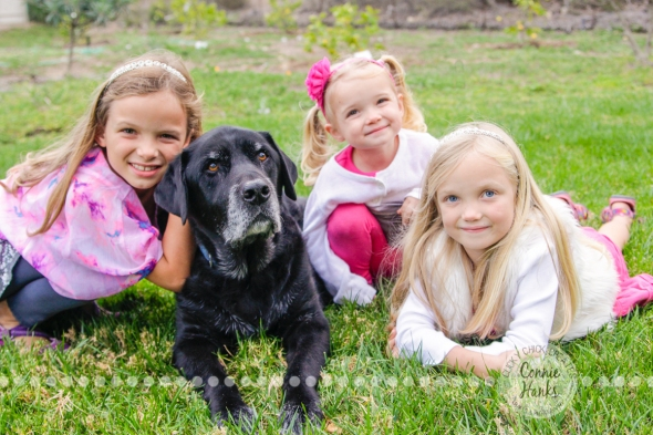 Connie Hanks Photography // ClickyChickCreates.com // Family photography, San Diego, daughters, sisters, dog, O Family, pink