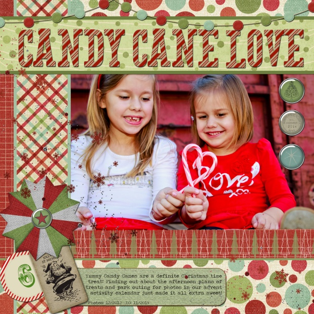 Connie Hanks Photography // ClickyChickCreates.com // Candy Cane Love digital scrapbooking layout using #CreativeChristmas Bundle kits