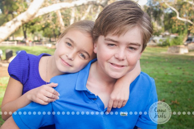 Connie Hanks Photography // ClickyChickCreates.com // Family photography at Old Poway Park, poses, kids, siblings, brother, sister, rustic, park,