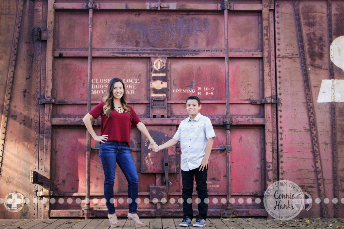 Connie Hanks Photography // ClickyChickCreates.com // Mother, son, Old Poway Park, poses, family, rustic, park,