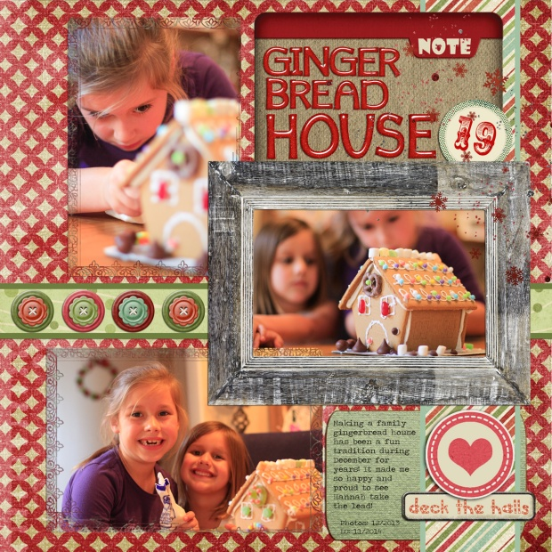Connie Hanks Photography // ClickyChickCreates.com // Gingerbread House digital scrapbooking layout using #CreativeChristmas Bundle kits