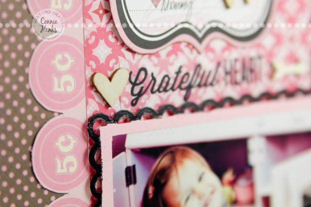 Connie Hanks Photography // ClickyChickCreates.com // Vintage Beauty scrapbook layout page, embossing on die cuts, punches, fussy cutting, pink, brown, black, retro, kitchen