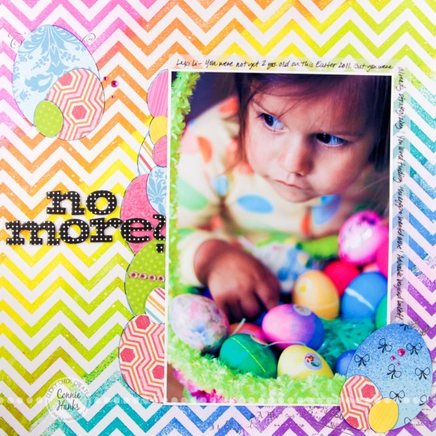 Connie Hanks Photography // ClickyChickCreates.com //Easter scrapbook layout, easy layers, Easter, no more, Heidi Swapp, color magic, layered eggs, chevrons