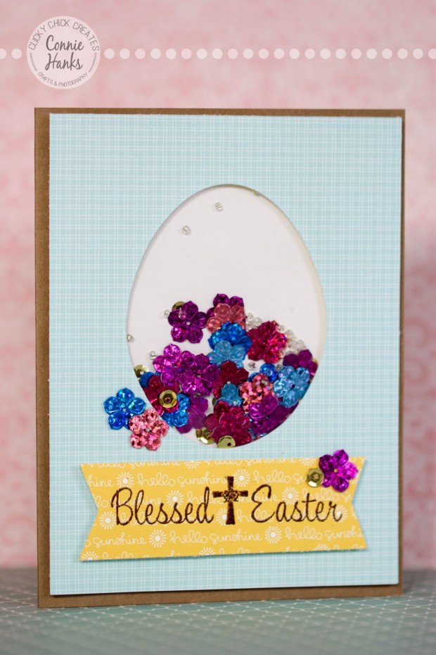 Connie Hanks Photography // ClickyChickCreates.com //Easter shaker card, blessed Easter, DIY, video, tutorial, easy, shaker, card, Easter