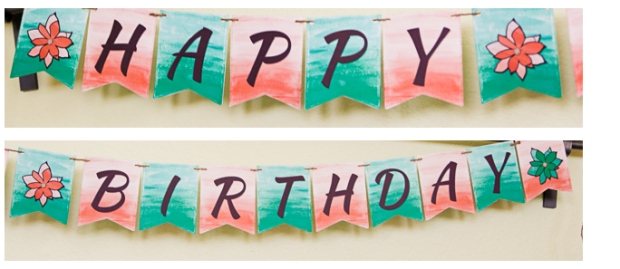 Connie Hanks Photography // ClickyChickCreates.com //Spring party printables, spring  or summer birthday party, garden party, etsy, printable, banner, cupcake toppers, straw flags, water bottle wraps, coral, mint, orange, green