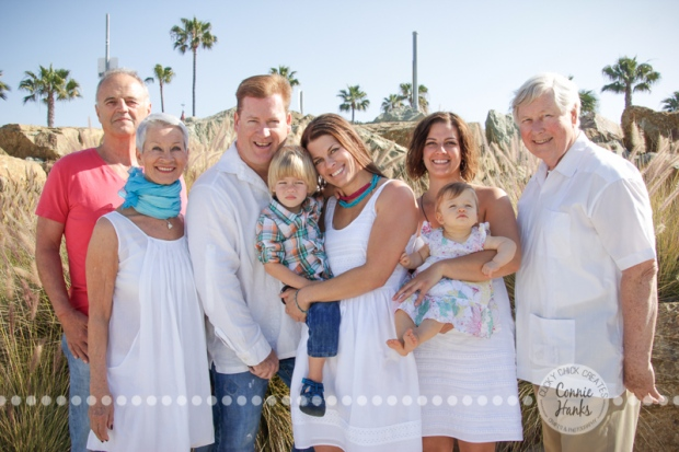 Connie Hanks Photography // ClickyChickCreates.com // multi-generation family on beach in Coronado Island