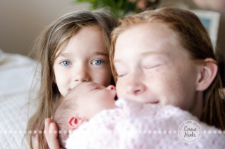 Connie Hanks Photography // ClickyChickCreates.com // baby girl newborn photo session - sisters!