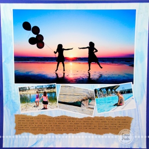 Connie Hanks Photography // ClickyChickCreates.com //Summer Splashin' scrapbook layout, gelatos, glass beads, beach, pool, pond, sunset, silhouettes, friends, family, cousins, sand dollar hunting, laying out