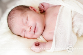 Connie Hanks Photography // ClickyChickCreates.com // baby girl, newborn photo session - sleeping baby, pearls, roses, head wreath, basket