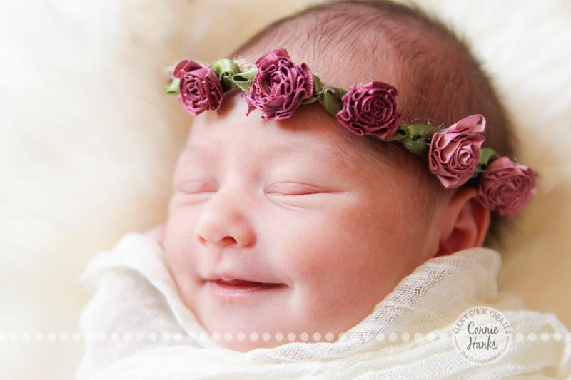 Connie Hanks Photography // ClickyChickCreates.com // baby girl, newborn photo session - sleeping baby, pearls, roses, head wreath, basket