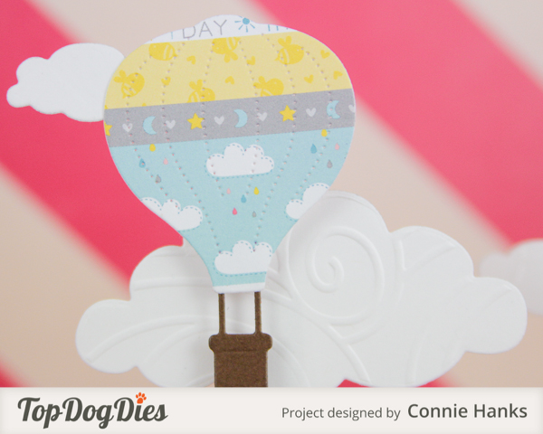 Connie Hanks Photography // ClickyChickCreates.com // handmade cupcake toppers using Top Dog Dies, hot air balloon theme