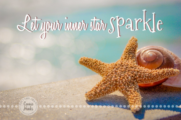 Connie Hanks Photography // ClickyChickCreates.com // Sea Star, Starfish, quote, let your inner star sparkle, bokeh, pacific, ocean, beach,