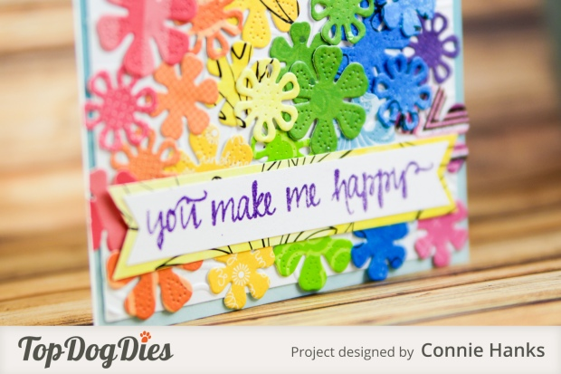 Connie Hanks Photography // ClickyChickCreates.com // rainbow and flowers card using Top Dog Dies, rainbow explosion,