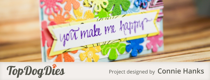 Connie Hanks Photography // ClickyChickCreates.com // rainbow and flowers card using Top Dog Dies, rainbow explosion,
