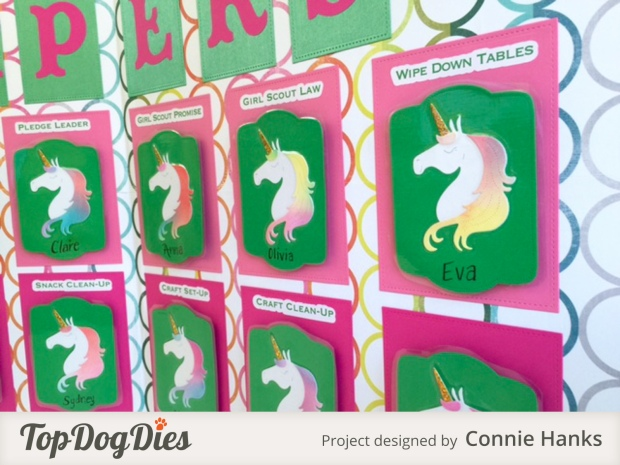 Connie Hanks Photography // ClickyChickCreates.com // Girl Scouts Kaper Chart, Brownies Kaper Chart, unicorns, Daisies, responsibility chart