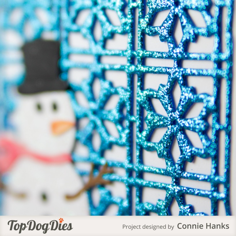 Connie Hanks Photography // ClickyChickCreates.com // stitched Snowman card on snowflake background using Top Dog Dies,