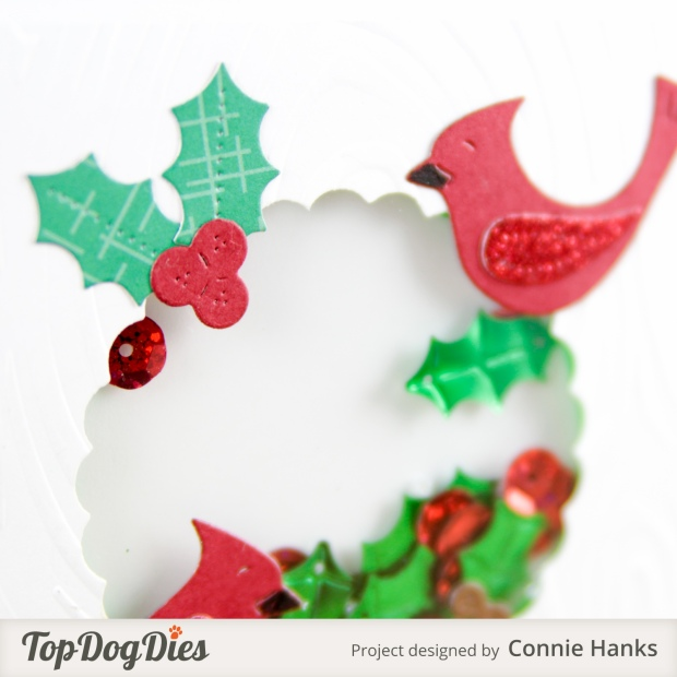 Connie Hanks Photography // ClickyChickCreates.com // Christmas shaker card, cardinals, mistletoe, holly, Top Dog Dies
