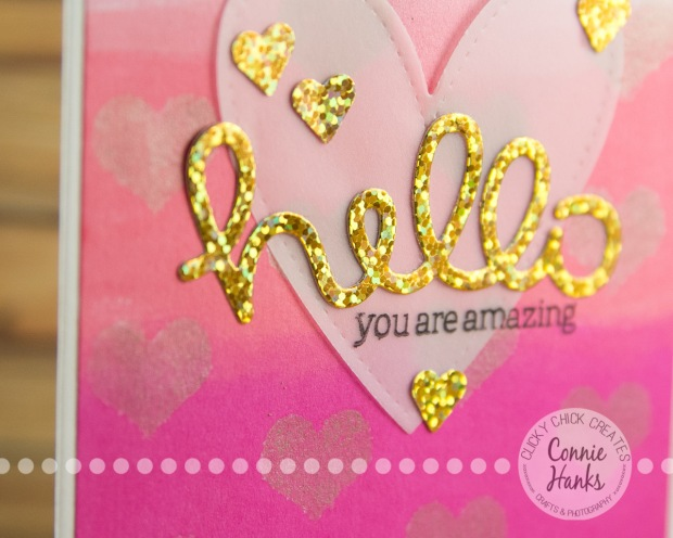 Connie Hanks Photography // ClickyChickCreates.com // Hello You are Amazing - Ombre card - distress inks