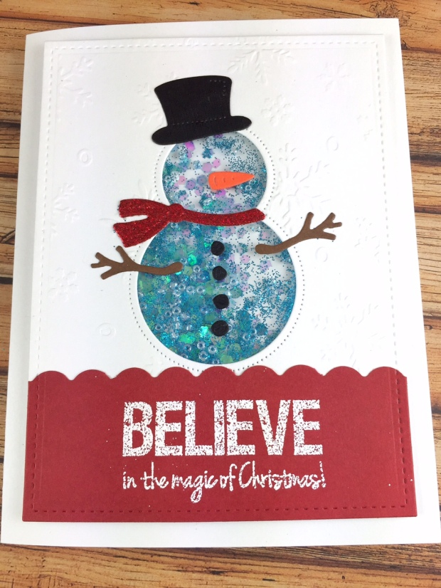Connie Hanks Photography // ClickyChickCreates.com // Believe in the Magic of Christmas , snowman shaker card
