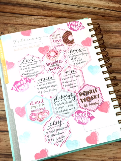 ClickyChickCreates.com // Plan with Me February 2016, pink, donuts, Eiffel Tower, kisses, Inkwell Press, Mission Board