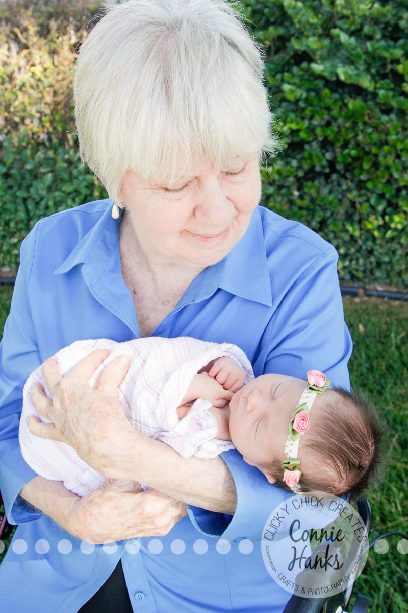 Connie Hanks Photography // ClickyChickCreates.com // newborn, baby photos, San Diego newborn photography, family photo session, family photography, baby girl, newborn girl, family, multi-generation family, extended family