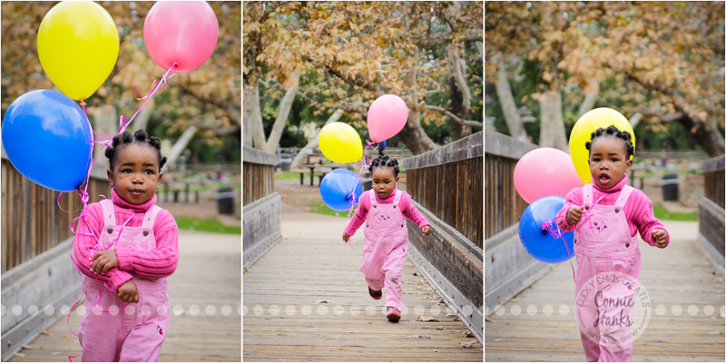 Connie Hanks Photography // ClickyChickCreates.com // birthday, toddler photos, San Diego family photography, child photo session, family photography, rustic park, balloons, toddler