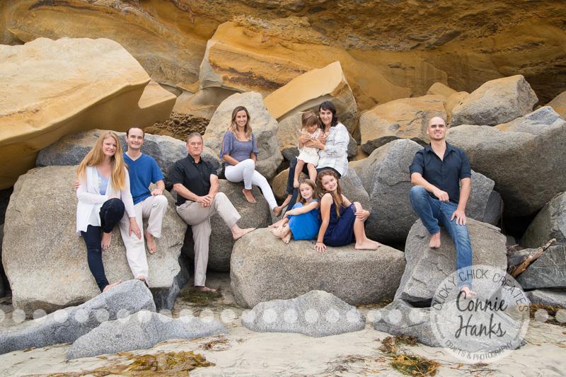 Connie Hanks Photography // ClickyChickCreates.com // multi-generation family photos, San Diego family photography, family photo session, siblings, La Jolla Shores, Scripps Pier