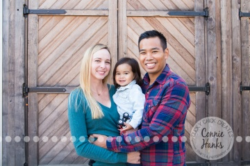 Connie Hanks Photography // ClickyChickCreates.com // family photos, San Diego family photography, family photo session, toddler photo session, rustic, Old Poway Park, barn doors