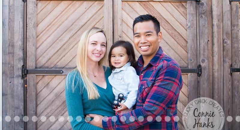 Connie Hanks Photography // ClickyChickCreates.com // family photos, San Diego family photography, family photo session, toddler photo session, rustic, Old Poway Park, barn doors